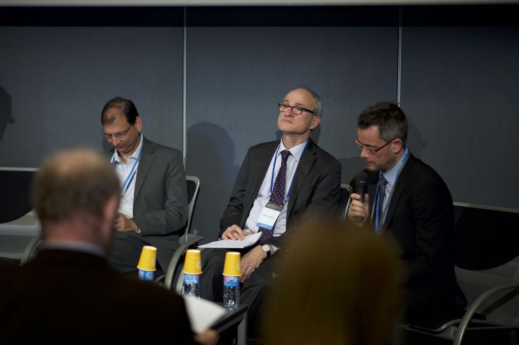 Ravi Prabhu (ICRAF), Stefan Schmitz (BMZ) and Sébastien Treyer (IDDRI) © Pilar Valbuena/CIFOR